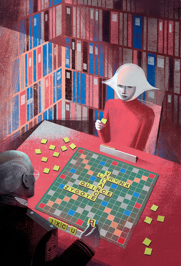 Scrabble - Illustration by Balbusso Sisters for The Handmaid's Tale by Margaret Atwood