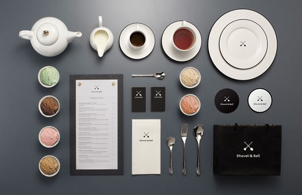 Shovel and Bell gelateria and cafe brand identity by Manic Design