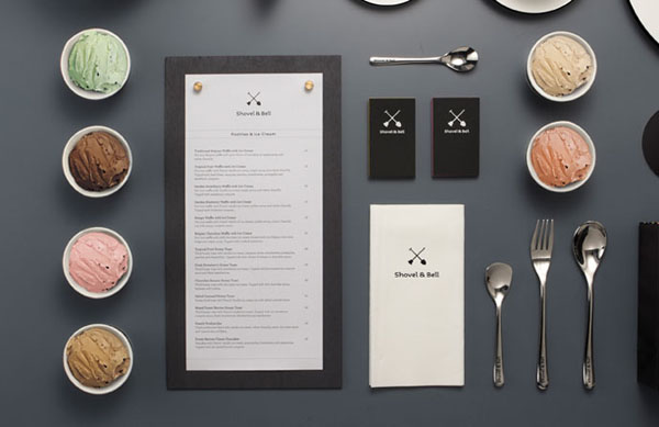 Shovel and Bell gelateria and cafe visual identity by Manic Design