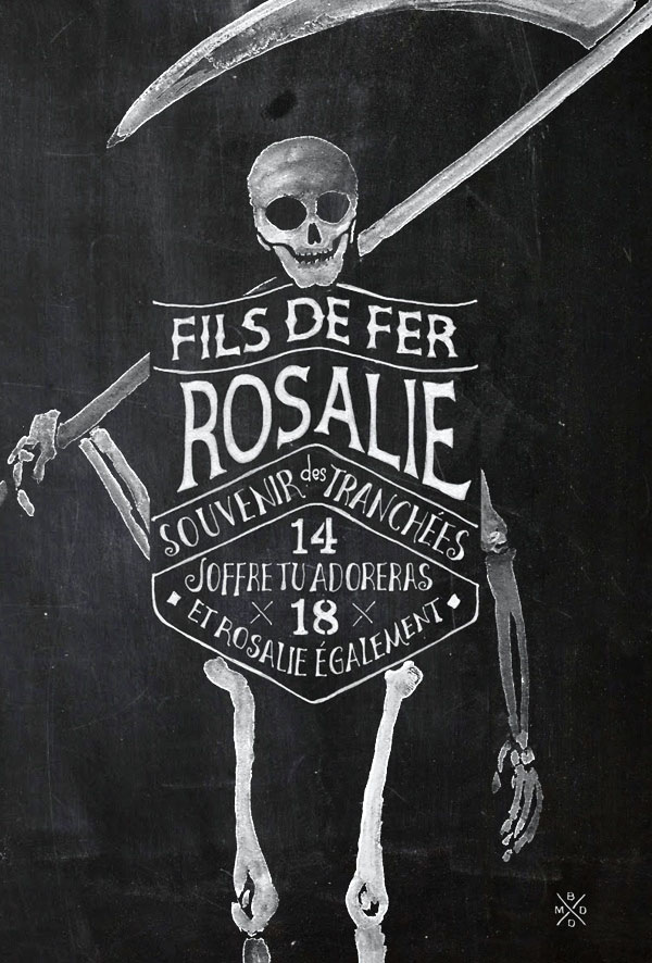 Typo and Watercolor Skeleton Illustration for FILS DE FER - Souvenir 14 18