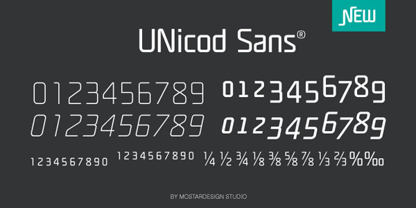 Unicod Sans - Numbers - Font Design by Mostardesign Studio