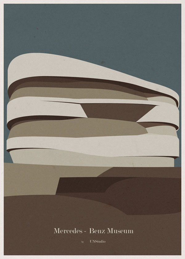 ARCHITECTURE - Germany - Mercedes Benz Museum - Poster Design by André Chiote