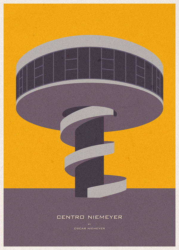 ARCHITECTURE - Spain - Centro Niemeyer - Graphic Poster Illustration by André Chiote
