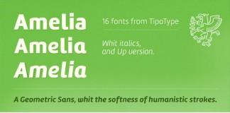 Amelia - geometric sans font family by Martin Sommaruga - Publisher: TipoType