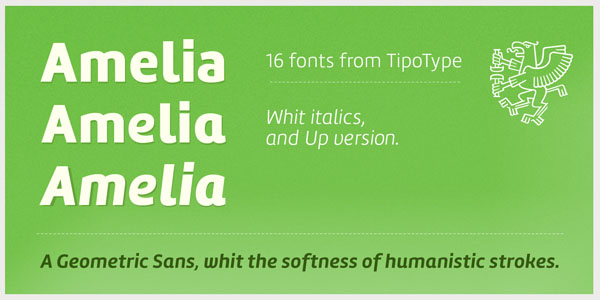 Amelia - geometric sans font family by Martin Sommaruga (TipoType)