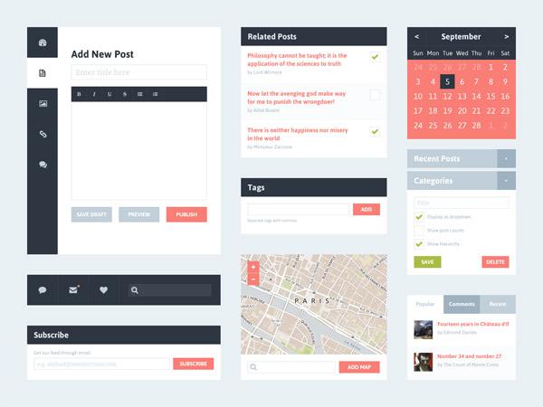 Blog UI - Free PSD of Widgets by Riki Tanone