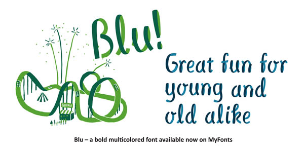 Blu - multilayered ribbon font