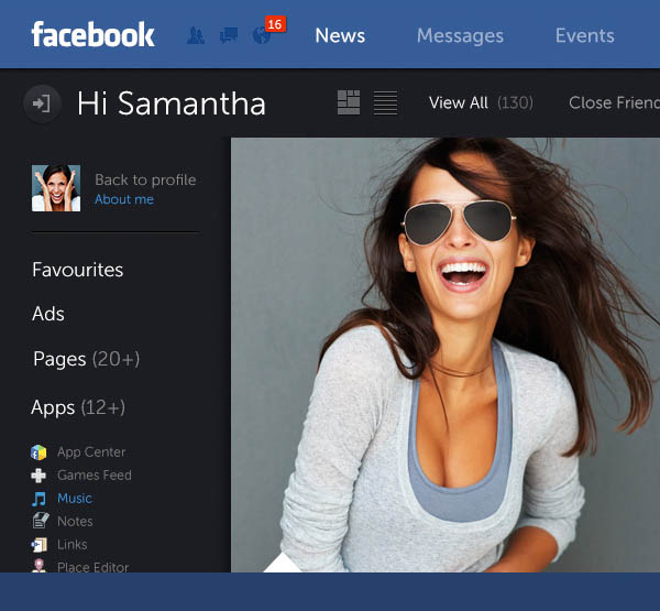 Facebook Web Design Concept by Fred Nerby