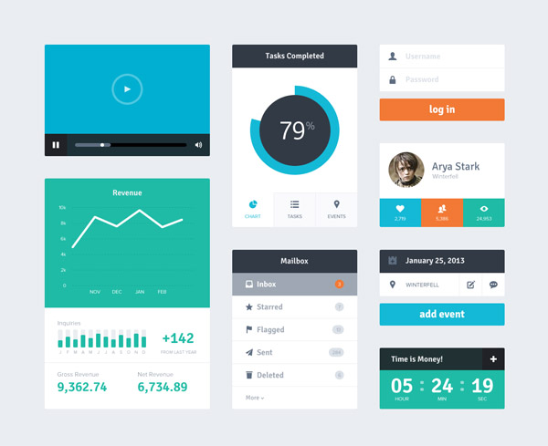Free Flat User Interface Kits of Widgets by Riki Tanone