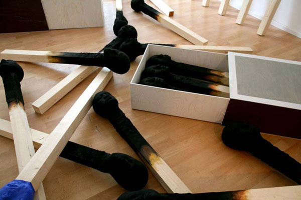Matchstickmen Art Installation by Wolfgang Stiller