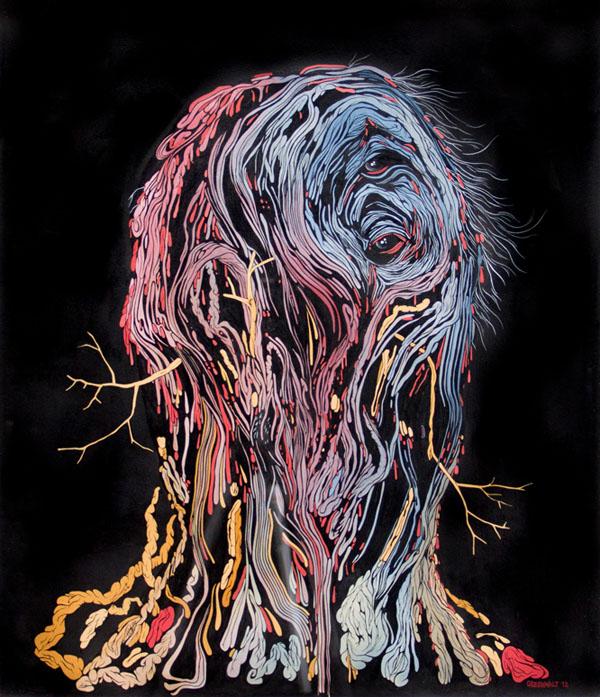 Scott Greenwalt - Portrait - ink, gouache, acrylic gouache on paper