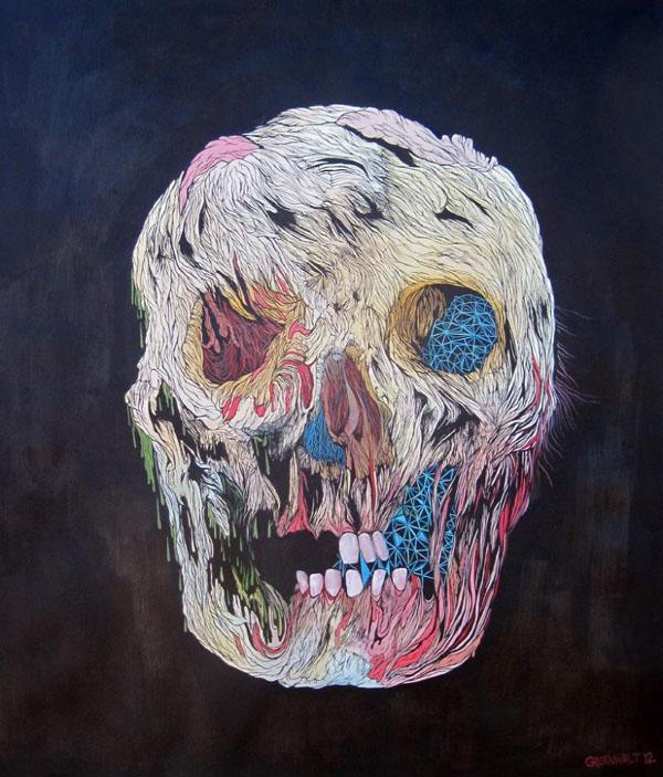 Scott Greenwalt - Upon the Palace Gates - ink, gouache, acrylic gouache on paper