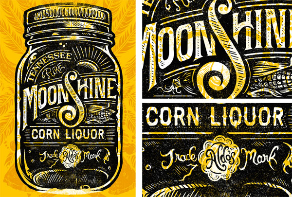 Tennessee Moonshine Corn Liquor Print by Derrick Castle