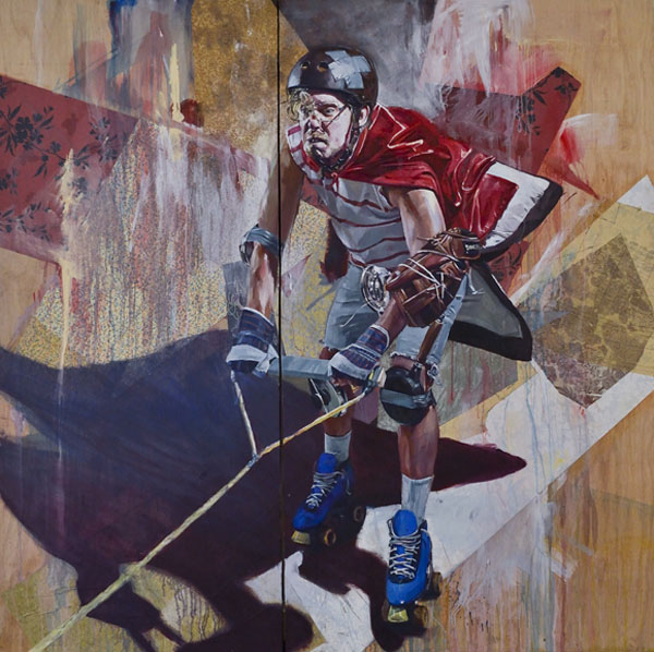 This Guy - Oils and Collage on Mahogany by Drew Young