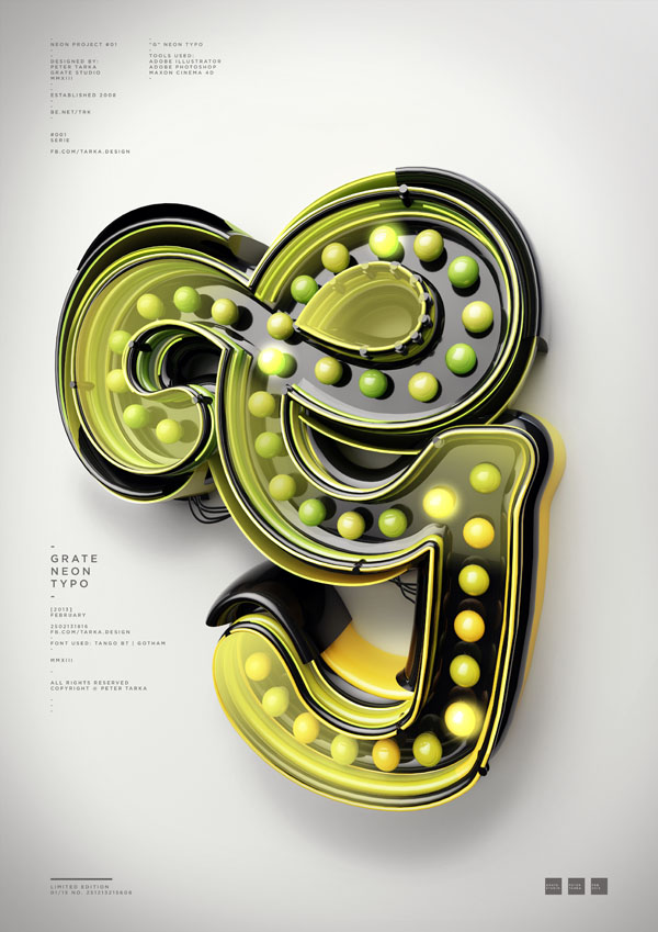 Typograhic Artwork with 3D Neon Sign Letter by Peter Tarka