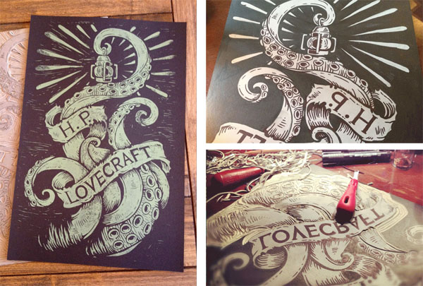 hand carved and hand printed block print by Derrick Castle based on the Lovecraft creature Cthulhu