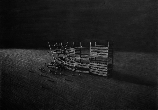 Collapsing cabinet, Charcoal on paper I - Drawing by Levi van Veluw
