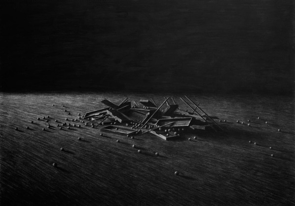 Collapsing cabinet, Charcoal on paper II - Drawing by Levi van Veluw