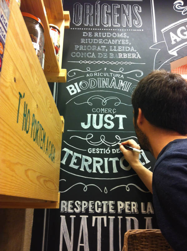 Handmade Letterings by Jordi Rins for an Organic Food Store