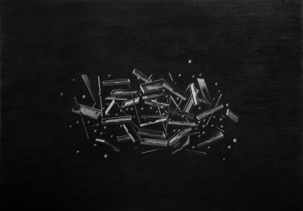 Exploded II (Triptych), Charcoal on paper - Drawing by Levi van Veluw
