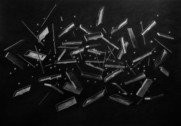 Exploded III (Triptych), Charcoal on paper - Drawing by Levi van Veluw