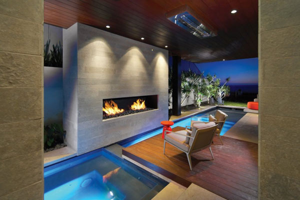 Fireplace inside the Strand Residence in Dana Point, California by Horst Architects