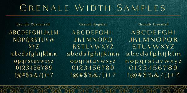 Grenale - font width samples