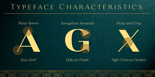 Grenale - typeface characteristics