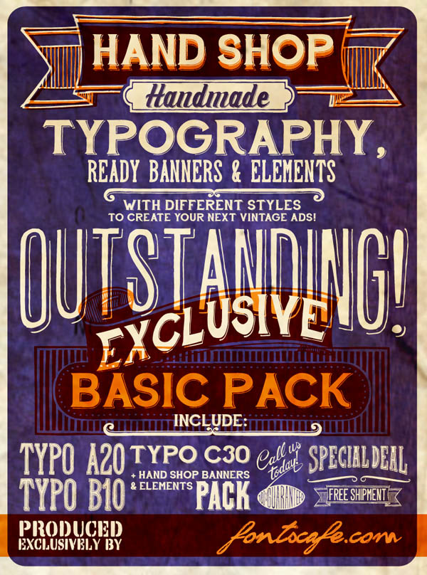 Hand Shop - Hand Lettering Banners and Elements by Fontscafe