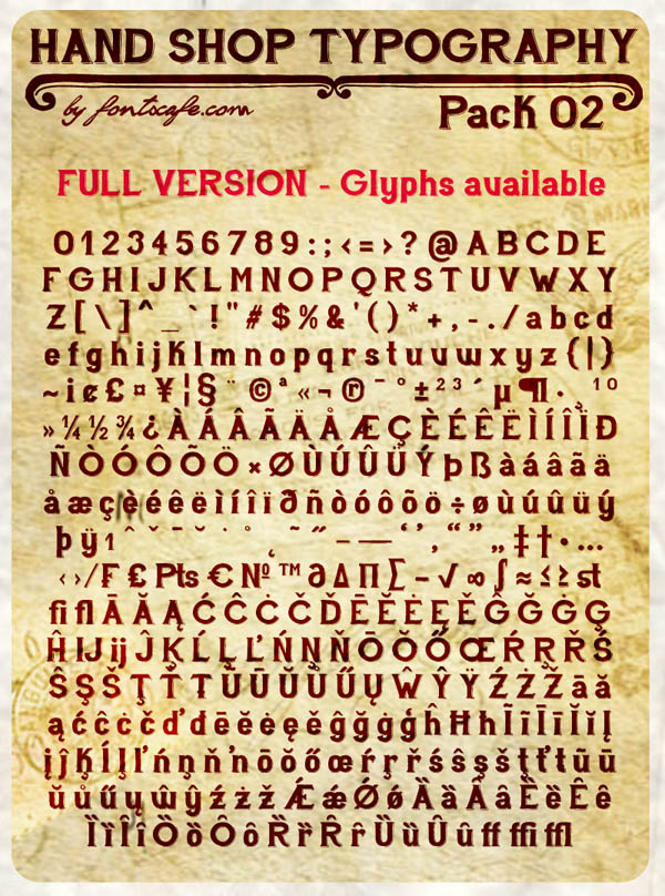 Hand Shop - Pack 02 - Full Version of Glyphs by Fontscafe