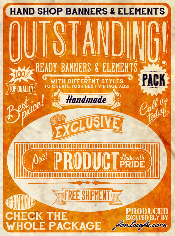 Hand Shop - Vintage Banners and Elements Packs by Fontscafe