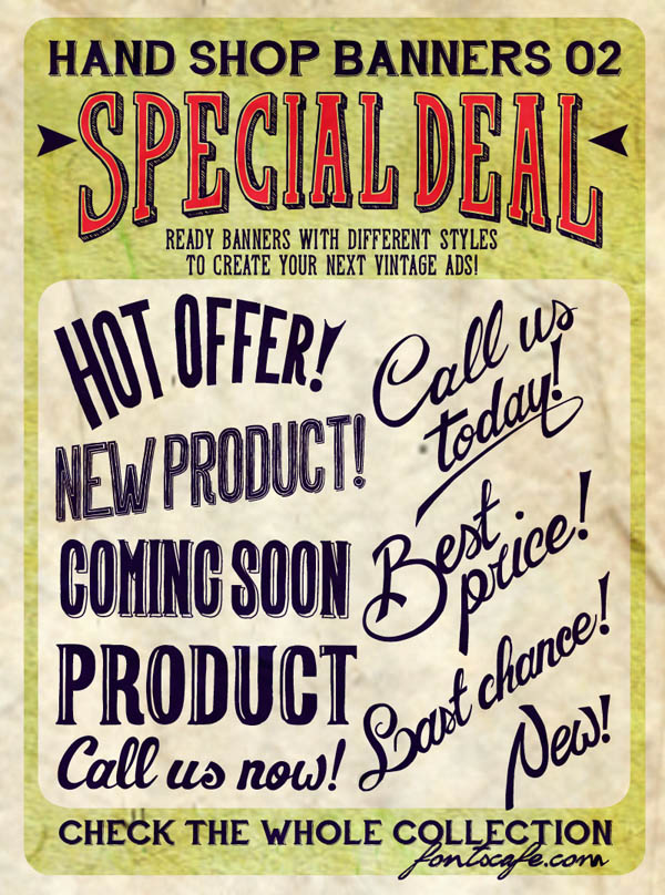 Hand Shop - Vintage Banners by Fontscafe