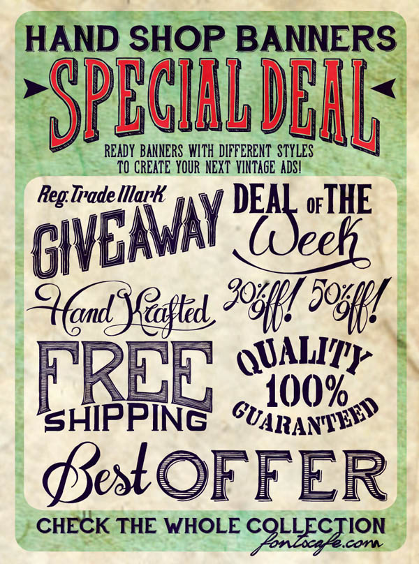 Hand Shop - Vintage Typographic Banner Pack by Fontscafe
