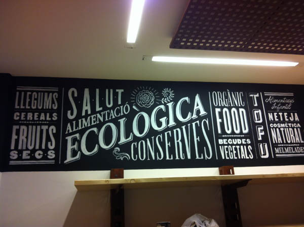 Handmade letterings by jordi rins for an organic food store for Mural lettering