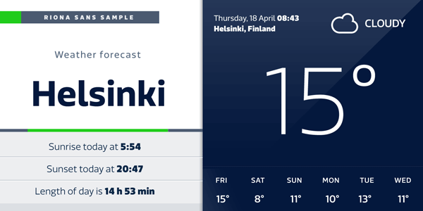 Riona Sans - Weather App - Screen Design Exapmple