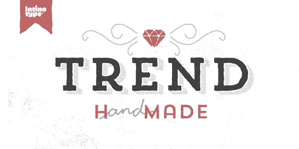 Trend Hand Made is a distressed font family with a natural look. It was designed by Daniel Hernández and Paula Nazal Selaive of Latinotype, a foundry based in Concepción and Santiago, Chile.