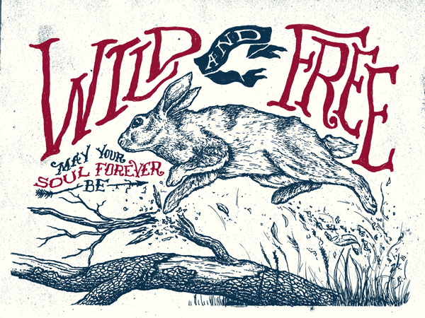 Wild and Free - Poster Illustration by Nathan Yoder