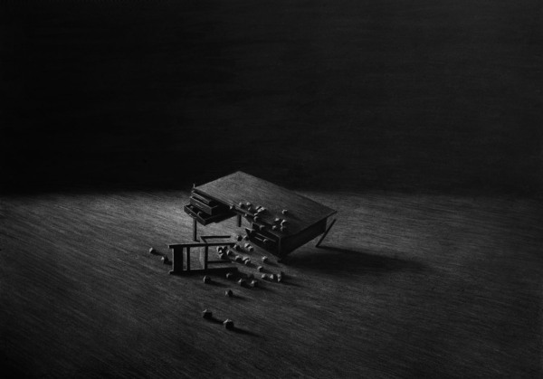 Writing desk, Charcoal on paper - Drawing by Levi van Veluw