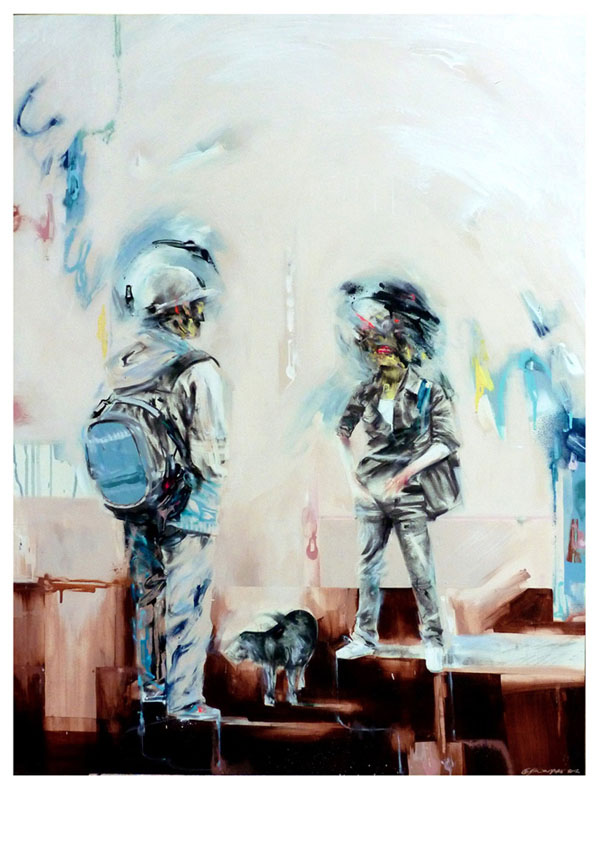 A Conversation about Dog Biscuits - Painting by Mike Carr