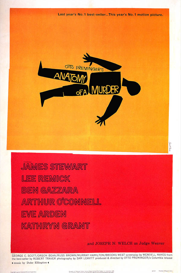 Anatomy of a Murder - Movie Poster by Saul Bass