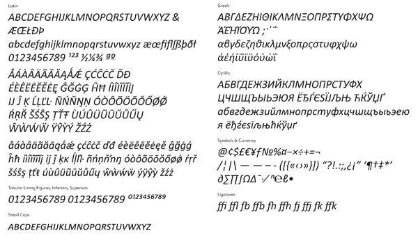 Calibri Type Specimen
