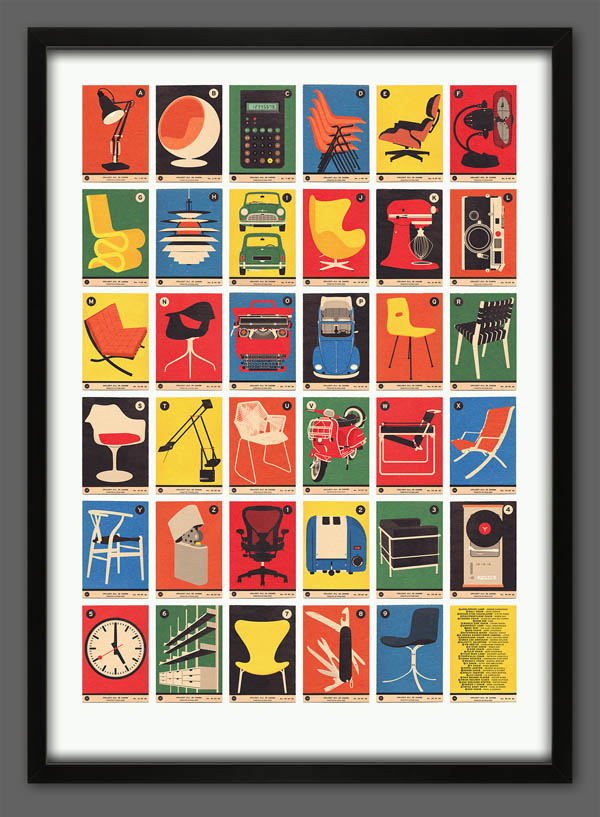 This detailed retro poster illustration from 67 Inc depicts cards of ...