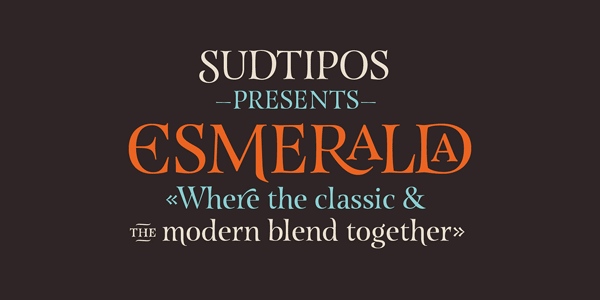 The Esmeralda Pro font family is a serif typeface published by foundry Sudtipos.