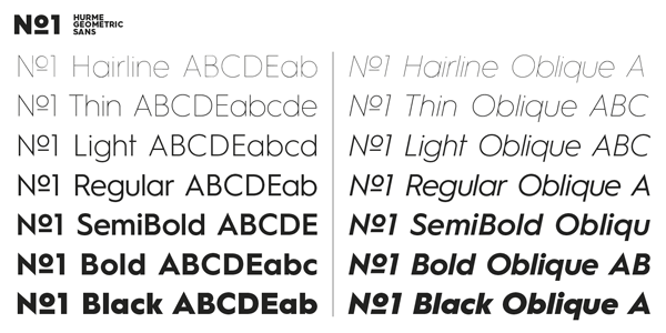 Hurme Geometric Sans No.1 - Weights