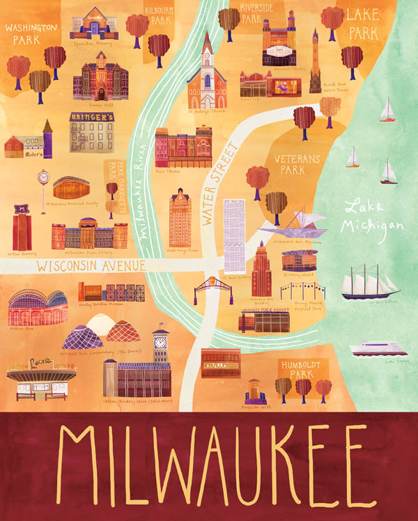 Milwaukee - Illustrated City Map - Art Print by Marisa Seguin