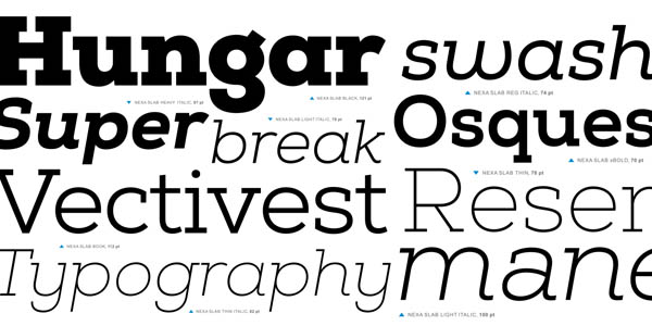 The Nexa Slab font family is a typeface that reflects current typographic trends.