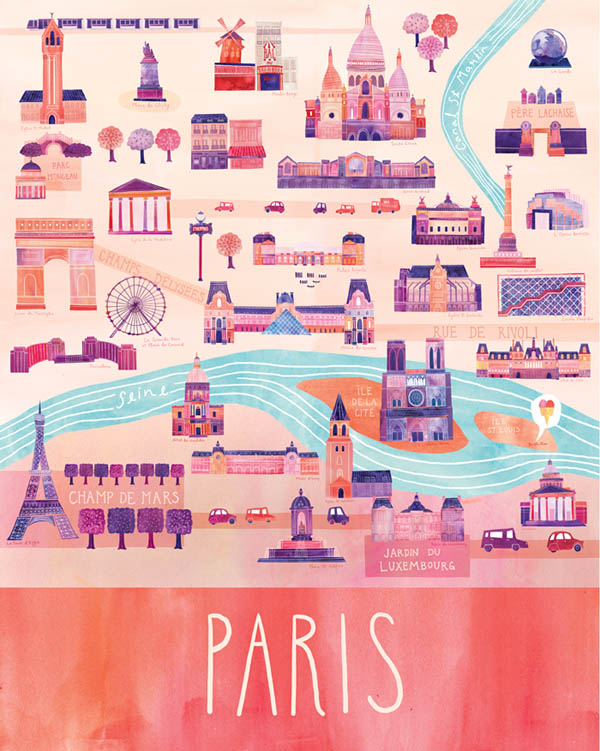 Paris - Illustrated City Map - Art Print by Marisa Seguin