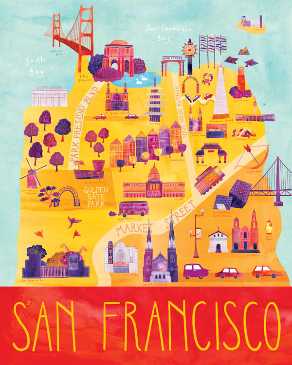 San Francisco - Illustrated City Map - Art Print by Marisa Seguin