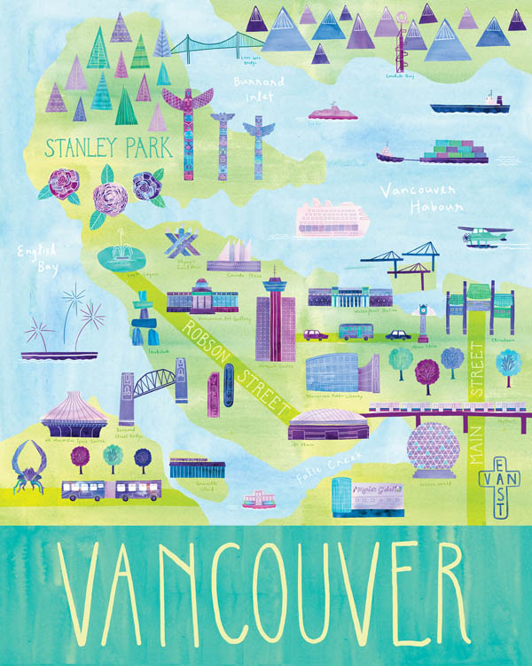 Vancouver - Illustrated City Map - Art Print by Marisa Seguin