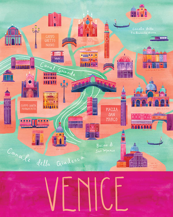 Venice - Illustrated City Map - Art Print by Marisa Seguin